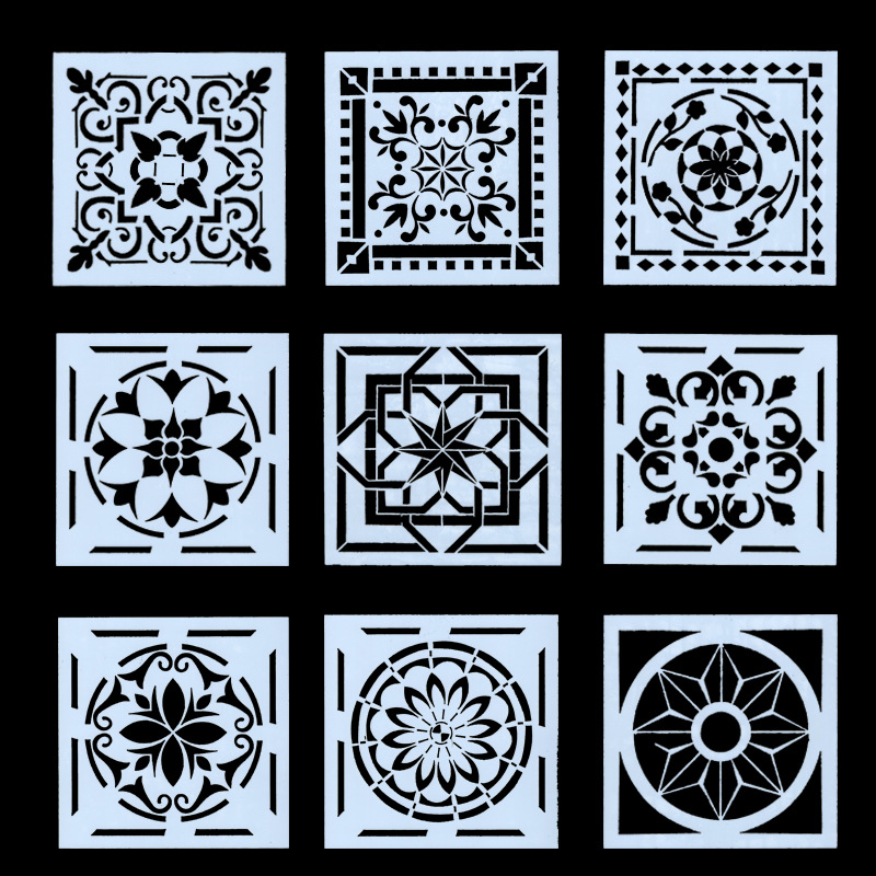 9Pcs/Set 15cm Geometry Frame Background DIY Layering Stencils Painting Scrapbook Coloring Embossing Album Decorative Template