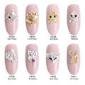 10pcs  gold fish glitter rhinestones strass nail art animals Fox Cat alloy 3d nailart onge unha decoration Y834~841