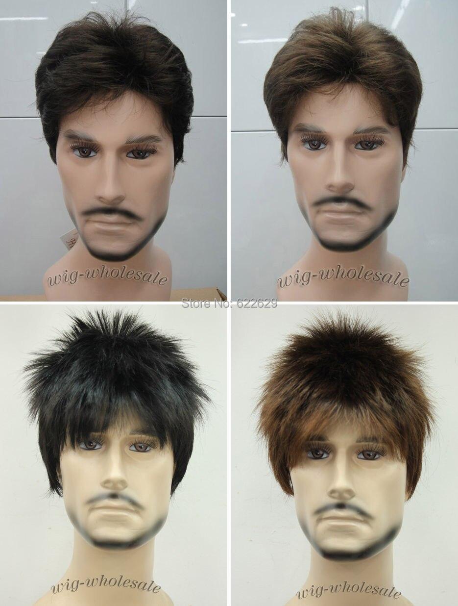 Brown Short Menfolk Man Men Male Daily Wear Hair Full Wig Wavy Weave