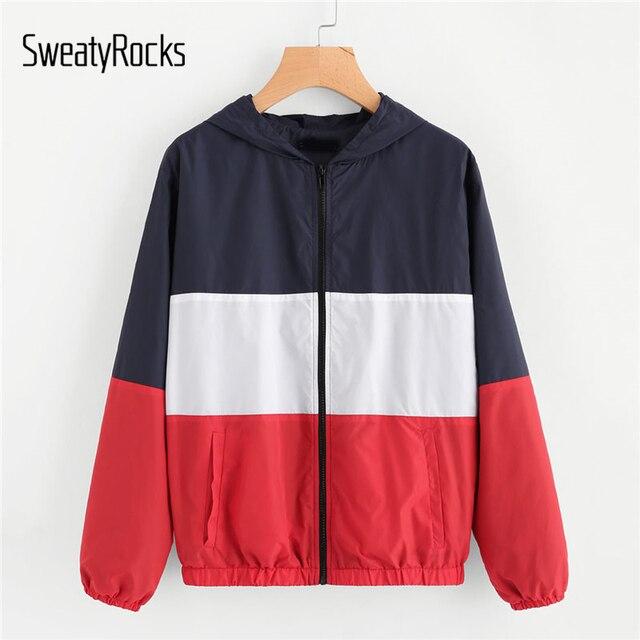 SweatyRocks Zuschneiden Und Nähen Hoodie Windjacke 2018 Neue Mode ...