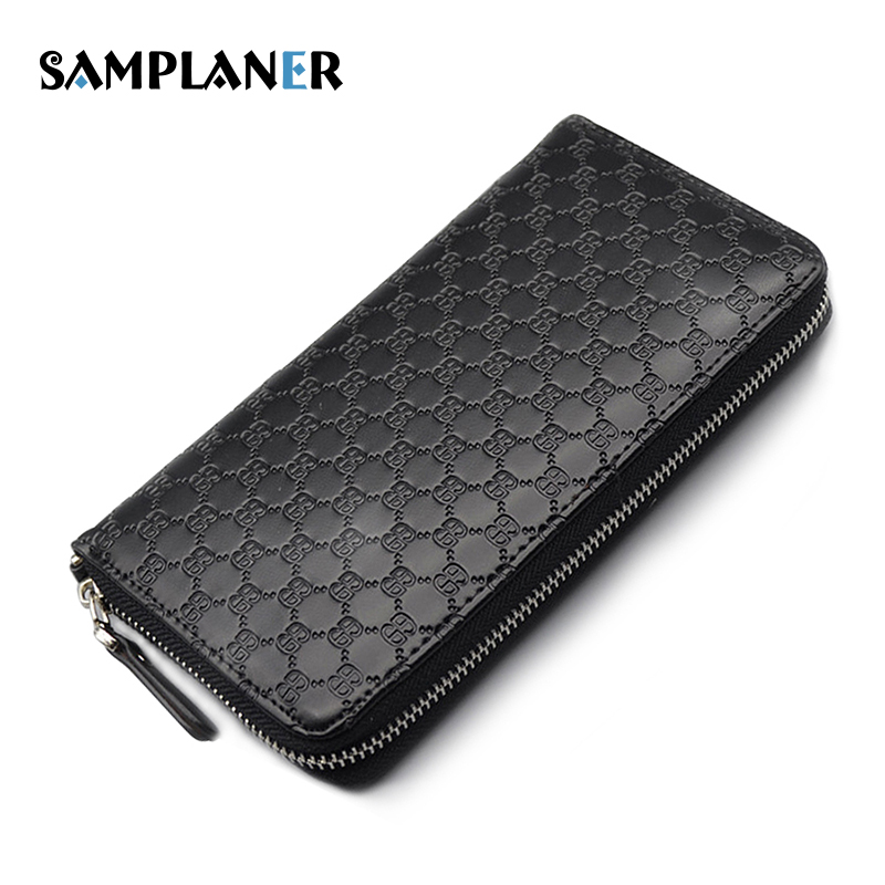 Samplaner Special Plaid Long Wallets Men Genuine Leather Clutch Wallet Card Holder Phone Man Wallet Coin Pocket Purse with Strap high quality first layer soft genuine leather men s credit card holder clutch wallet phone purse vintage design long wallets