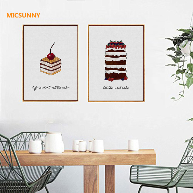 Micsunny abstract art picture cakes dessert canvas prints wall art painting giclee modern home decor for