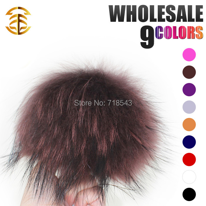 15Pcs/Lot Wholesale 12-13cm Raccoon Fur Pom Poms Luxurious Fur Balls for Beanie Hats Mink Pompom Hats Keychian Accessories