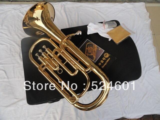 Профессиональный BB Баритоны 3 телеграфный ключ Bb бас, валторны золото lacque Трубы с мундштуком Прихватки для мангала ткань Кисточки BB TB-200