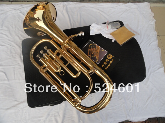 Professional Bb Euphonium 3 Straight Key Bb Bass, French Horn Gold Lacque Trumpet with Mouthpiece Gloves Cloth Brush Bb TB-200 silver plated double french horn f bb 4 key brand new with case