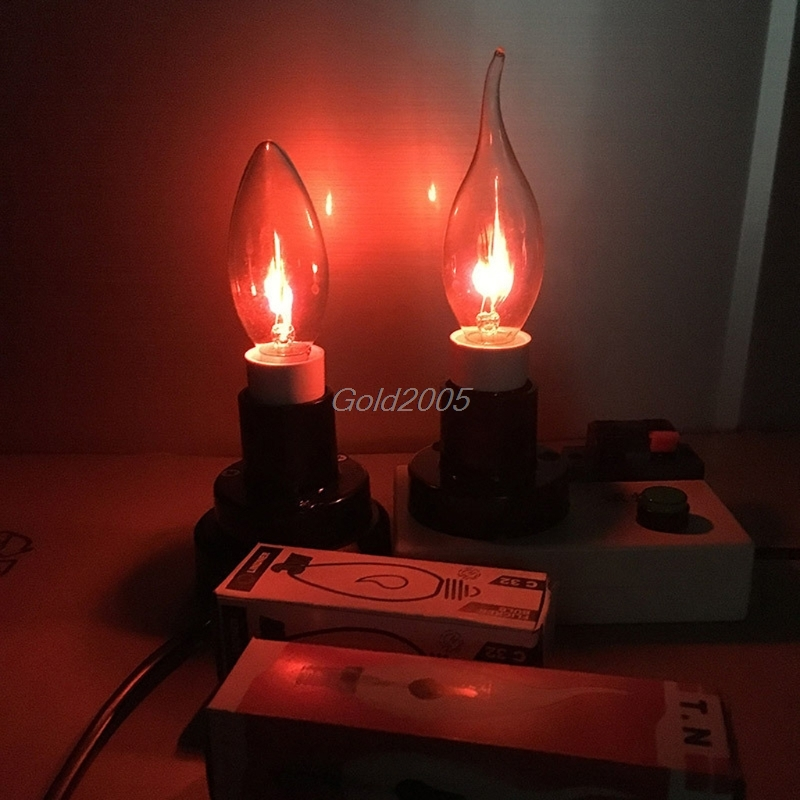 E14 3W Edison Filament Candle Flicker Light Bulb Fire Flame Tail/Tipped Retro Decor Lamp G07 Drop ship