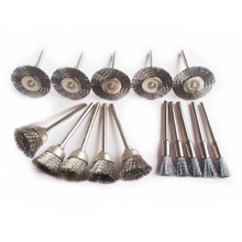 15pcs Steel Wire Wheel Brush dremel accessories rotary tool for mini drill tools electric burr deburring brushed wheels disc