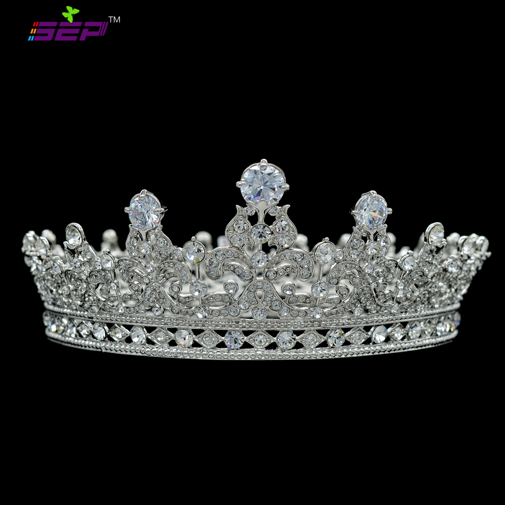 High Quality Full Round Crown Flower Queen Tiara Crown for Wedding Bridal Hair Accessories Rhinestone Crystal CZ Zircon SHA8709