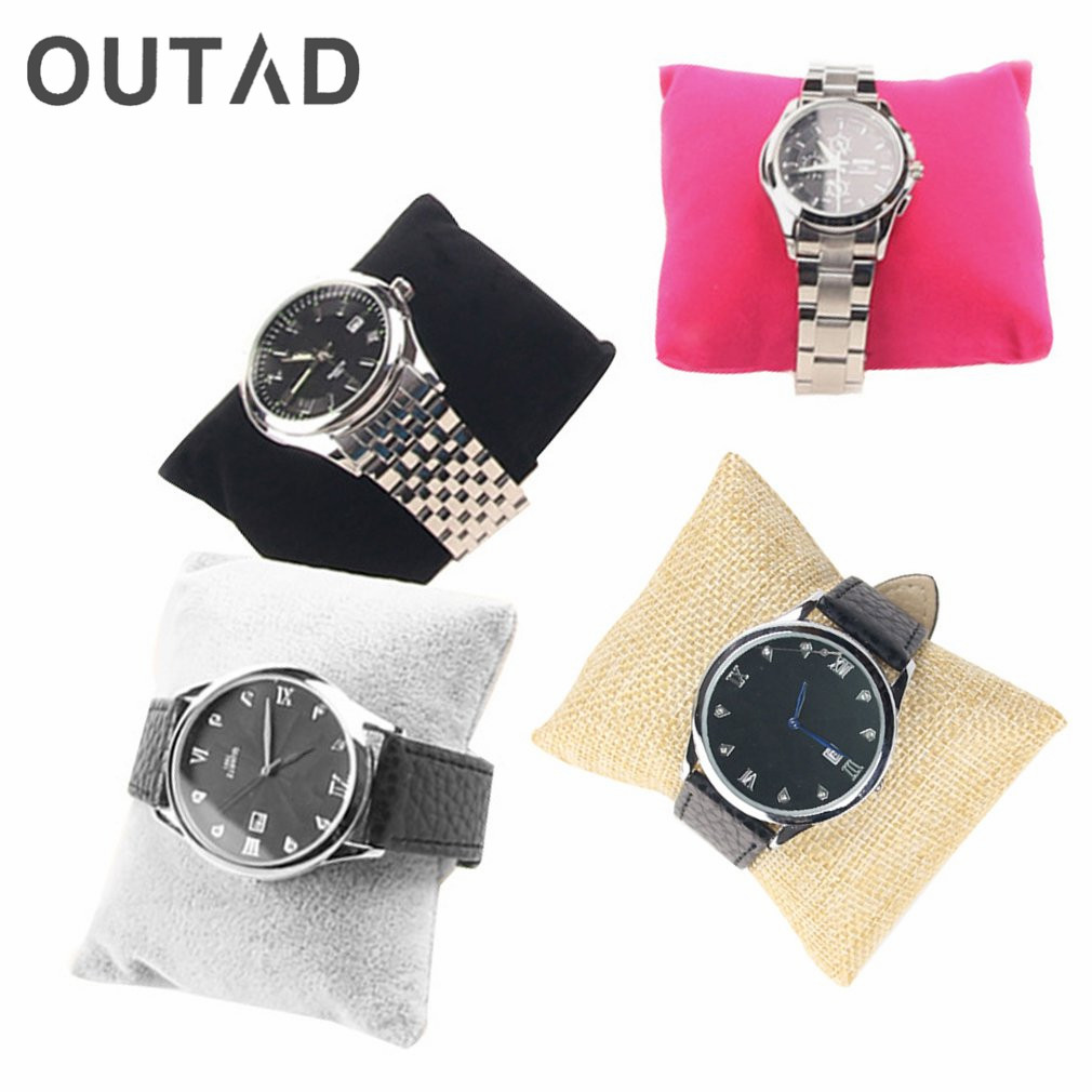 OUTAD Leinenarmband Armreif Uhr Kissenhalter für Schmuck Uhren Fall Box Samt & Baumwolle Schmuck Verpackung & Display 2017