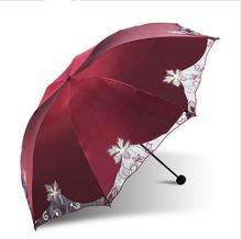 Chinoiserie Simplicity Polyster 210T Foldable Umbrella 8 Ribs Lace Border UV-proof Parasol Super Waterproof Umbrellas Rain Gear