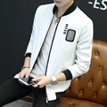 Novos homens Do Revestimento primavera Jaqueta Coreano Magro Casacos juventude moda tendência personalidade colar de beisebol jaqueta curta