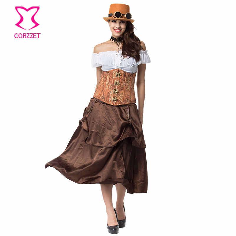 Для женщин корсеты и бюстье готический корсет платье бюстье gothique грудью Сталь корсет Западной с юбкой стимпанк Костюмы