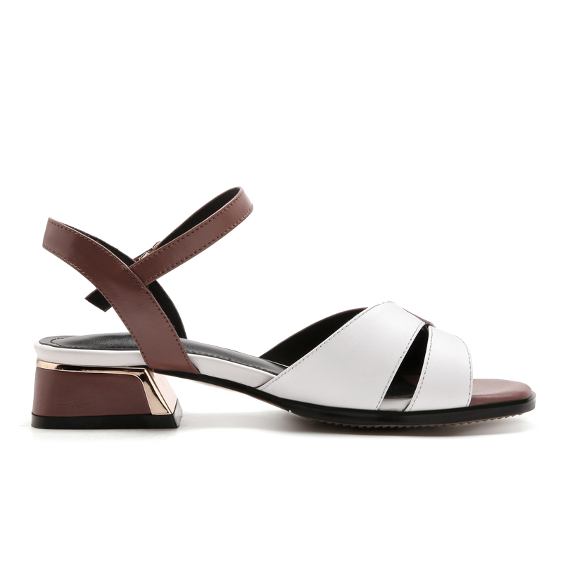 Summer fashion women shoes genuine leather low square heels with buckle mixed colors ladies sandals-in Low Heels from Shoes    2