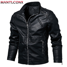 MANTLCONX 2019 New Autumn Mens PU Leather Jacket For Men Fitness Fashion Male Casaco Masculino Casual Coat L-6XL