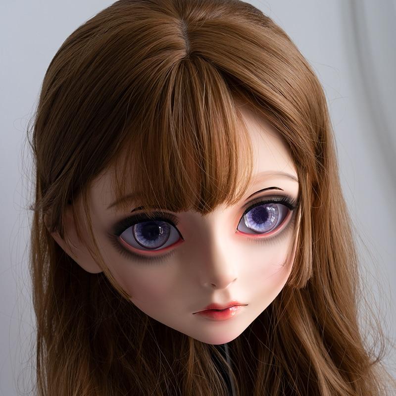 (LiLi Mask-29) Sweet Girl Resin Half Head Customize Cosplay Japanese Role Play Anime Silicone Kigurumi Mask Crossdresser Doll