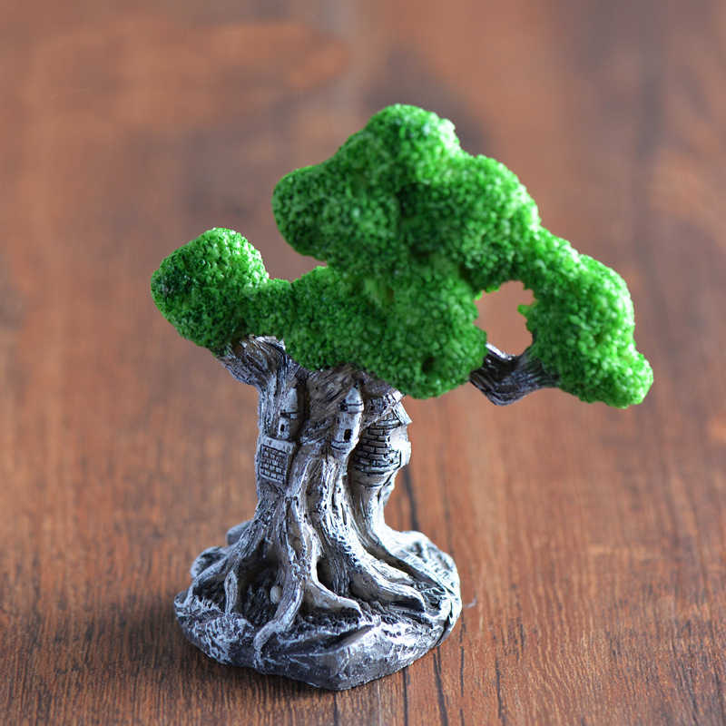 Retro Castle Tree Ornaments Resin Craft Home Decoration Fairy Garden Miniatures DIY Micro Landscape Decoration Gift