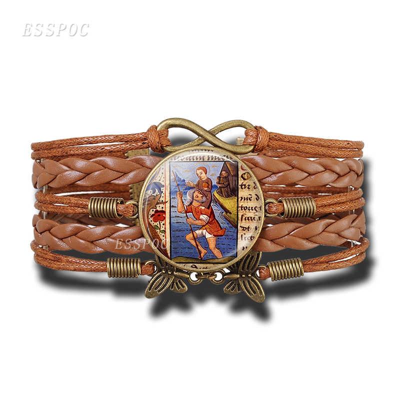 St Christopher พวงกุญแจ Saint สร้อยข้อมือ Bring Love ของคุณชีวิตเหรียญต่างหูแก้วเครื่องประดับ Cabochon ทางศาสนาของขวัญเครื่องประดับ