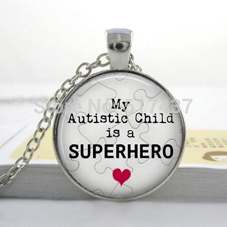 3 pcsautism кулон, моего аутичного ребенок супергерой Цепочки и ожерелья, аутизм украшения-подарок для мамы или папы
