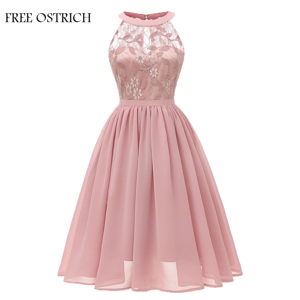 FREE OSTRICH Vintage Women Wedding Floral Lace Neckline Dress Evening Party A-line Swing Formal Elegant Dress