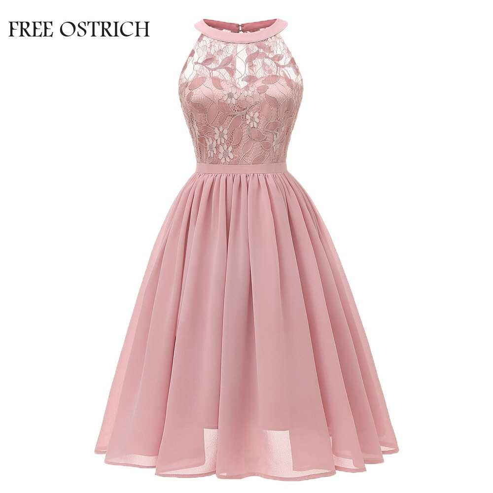 FREE OSTRICH Vintage Women Wedding Floral Lace Neckline Dress Evening Party A-line Swing Formal Elegant Dress