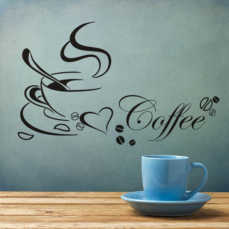 Retro Coffee cup with heart wall sticker vinyl decals Restaurant Kitchen removable Stickers DIY for home decor wall art mural 1
