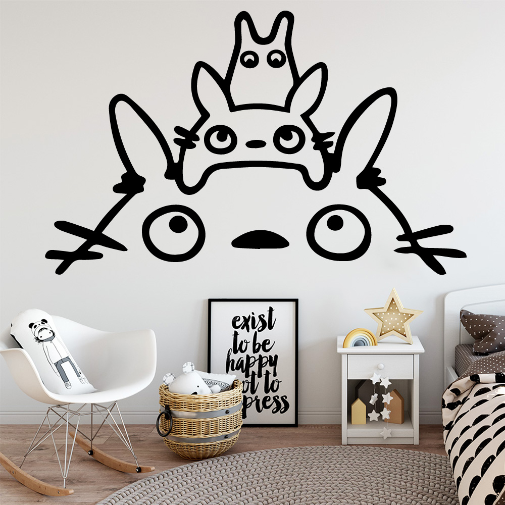 Drop Shipping Totoro Wallpaper Home Decoration Wall Sticker For Baby Kids Rooms Decor adesivo de parede wallstickers