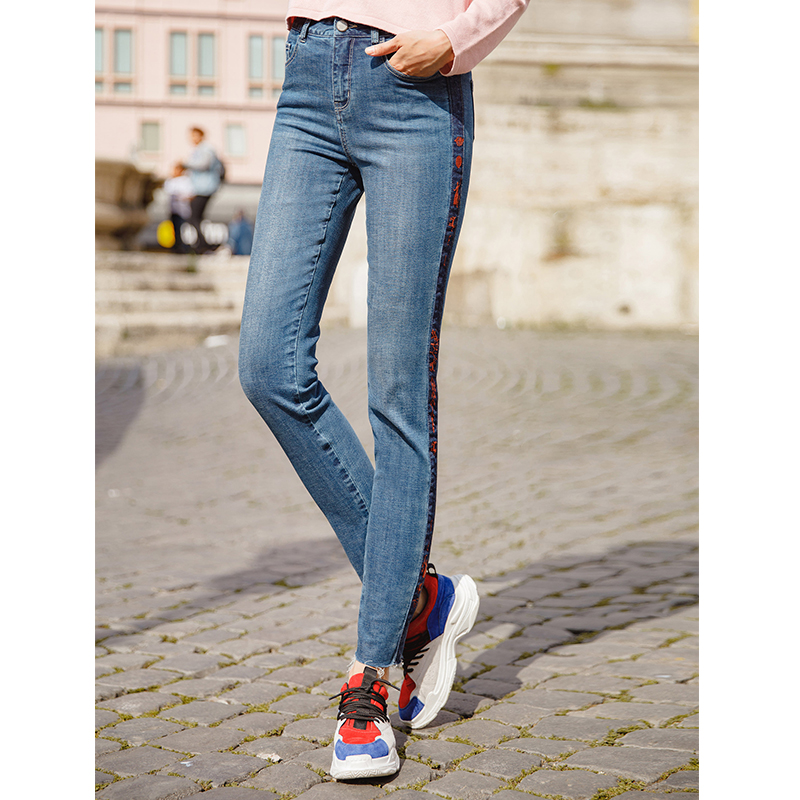 INMAN Women Long Causal Slide Patchwork Zipper Pencil   Jeans