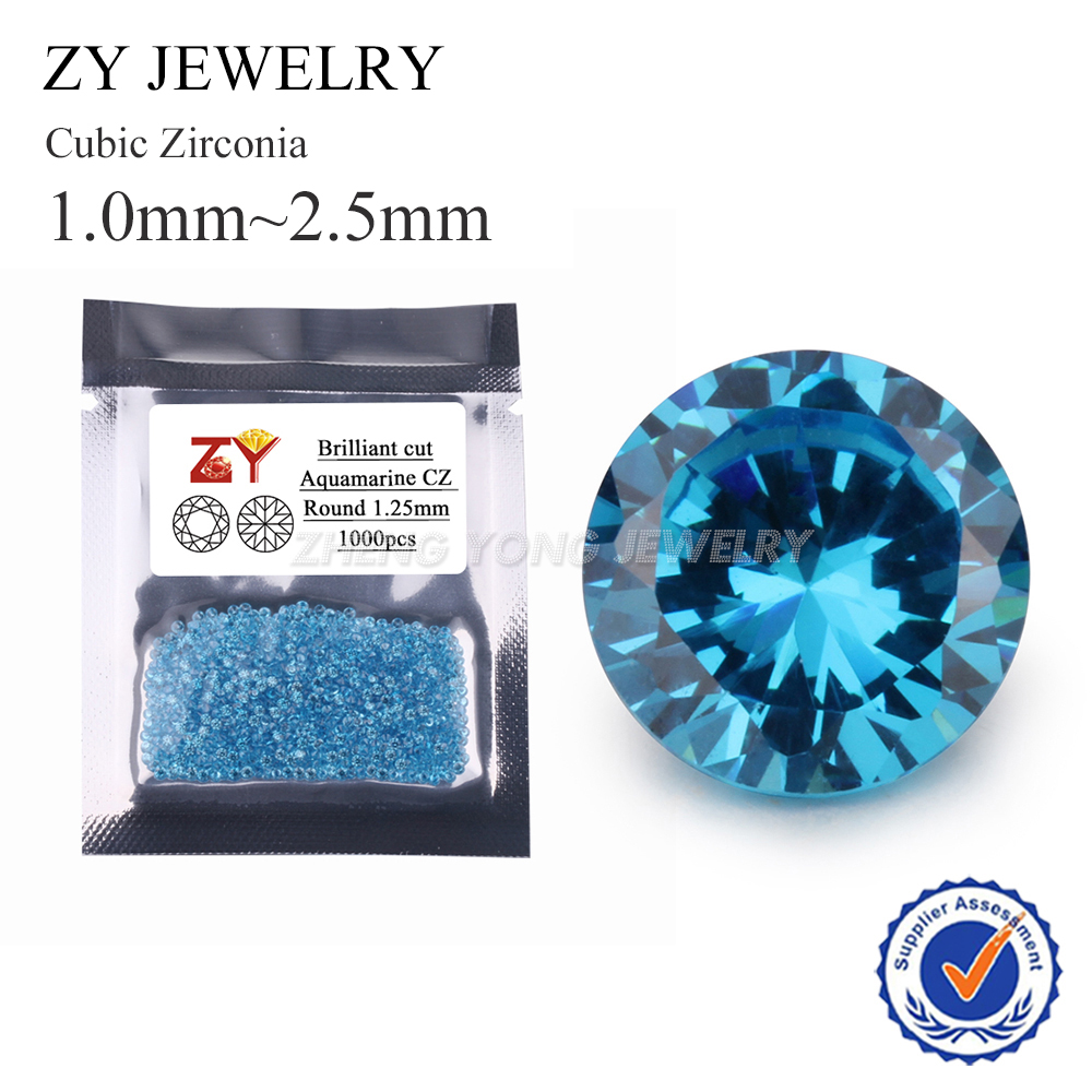 Beads 5a 1.0-2.5mm Dark Seablue Cz Round Shape 1000pcs/lot Machine Cut Loose Blue Cubic Zirconia Stone Synthetic Gems For Jewelry Ample Supply And Prompt Delivery Jewelry & Accessories