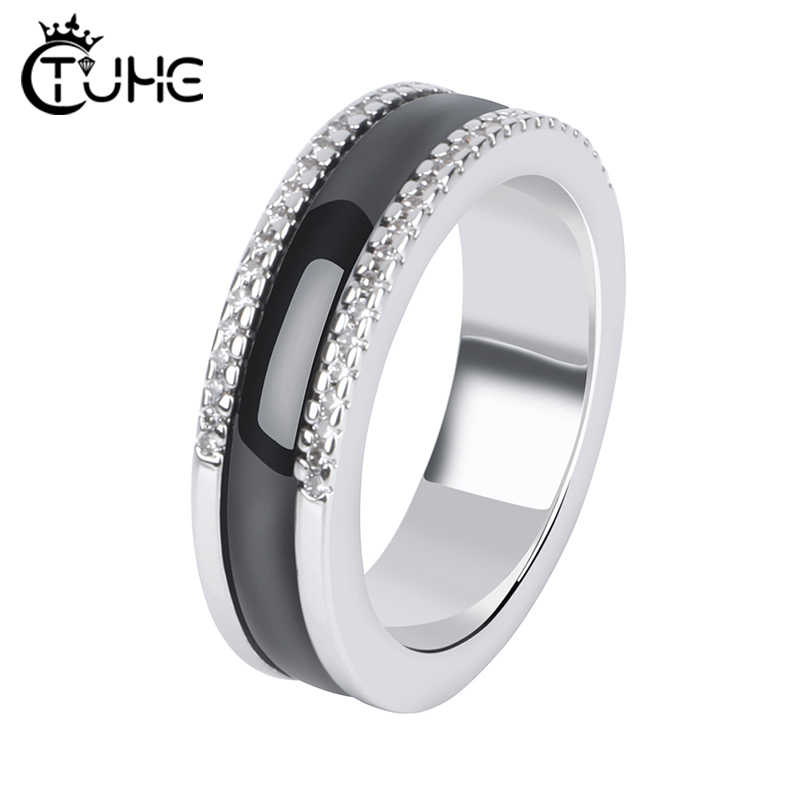 Two Row CZ Crystal Women Rings Never Fade Black White Ceramic Healthy Jewelry Women Jewelry Gift