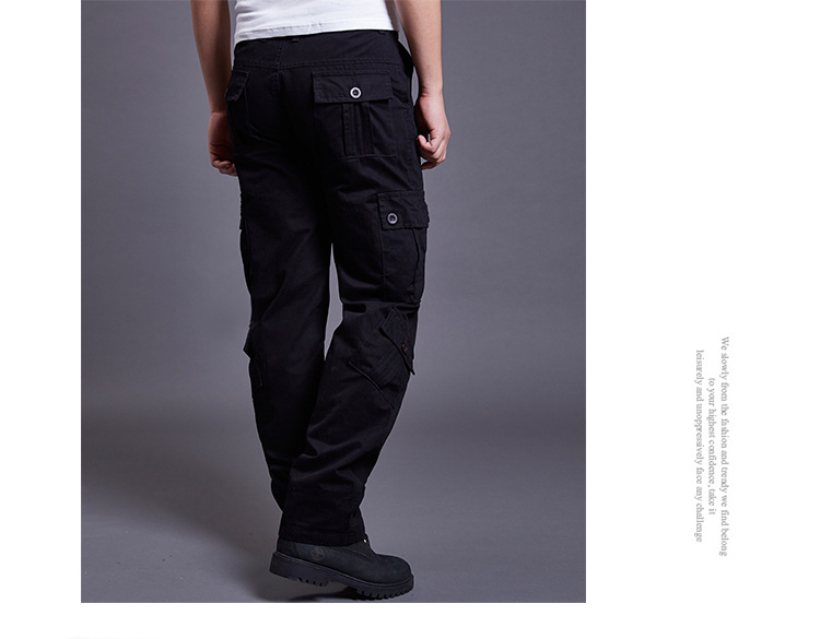 Icpans Winter Tactical Black Cargo Pants Men Loose Fit Military Style Side Pockets Army Black Denim Casual Men Pants Size 40 42 18