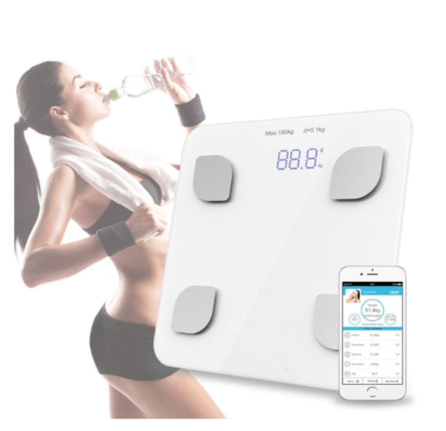 NHBR-Bluetooth Digital Body Weight Bathroom Scale Smart Backlit Display Scale for Body weight Body Fat Water Muscle Mass BMI ...