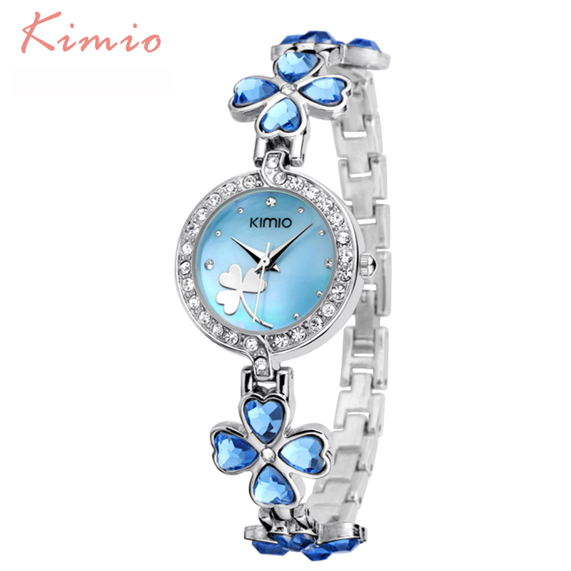 KIMIO Lucky Clover Love Crystal Ladies Watches Women Dress Diamond Woman Watches 2018 Brand Luxury Quartz Watches Woman Clock