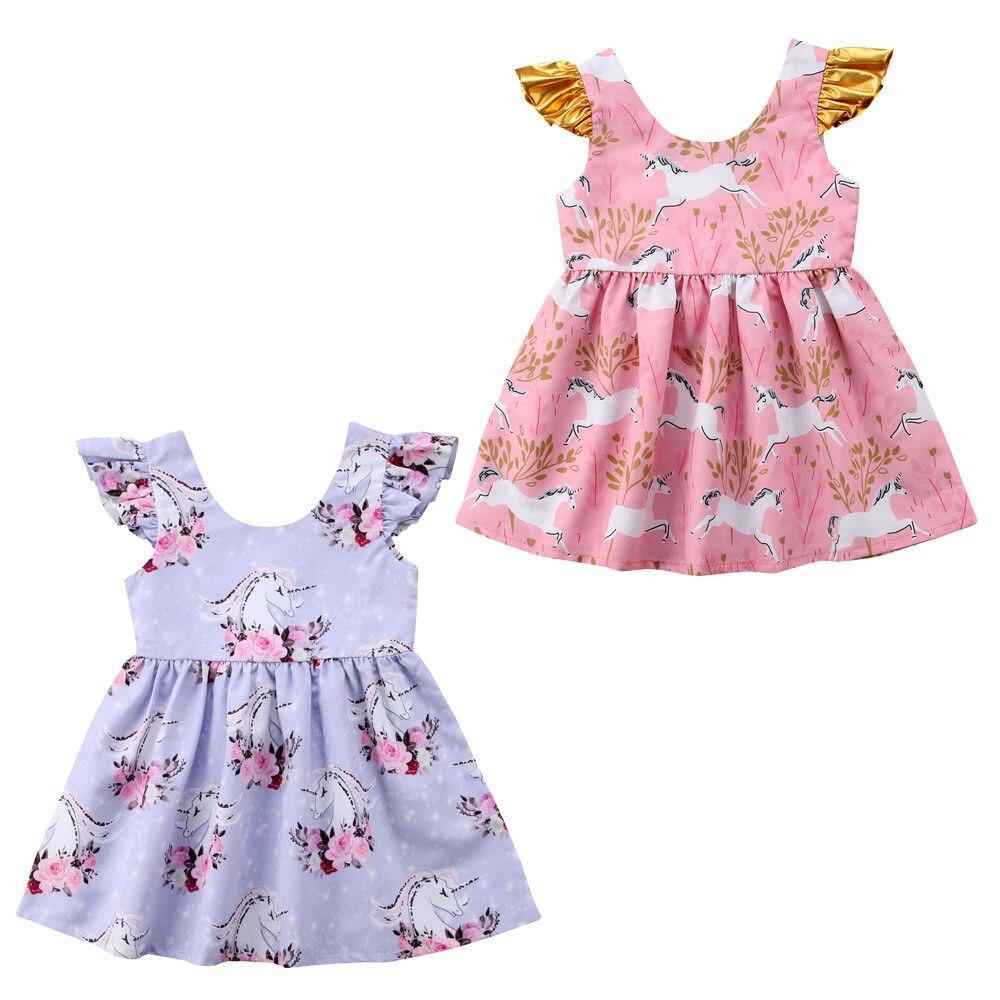 Floral Summer Toddler Kids Girl Dress Ruffles Sleeve Unicorn Cartoon Tutu Princess Baby Party Dresses Sundress Clothes 1-6Y