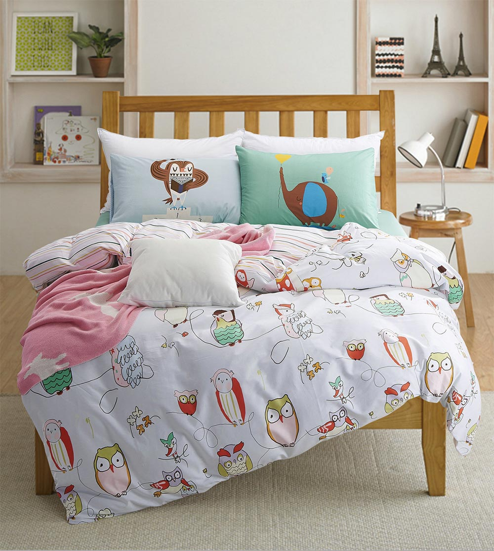 buho de la historieta sola cama doble fija kids nios full twin queen cotton carcter