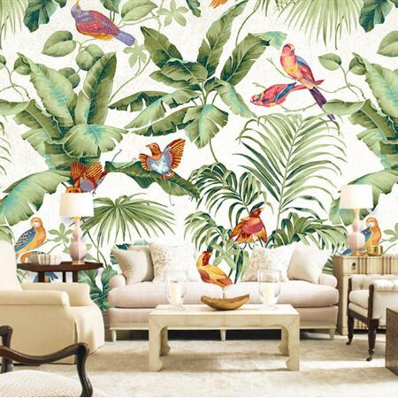 3D stereo tropical garden flower bird painting style wallpaper bedroom TV background personality wallpaper mural