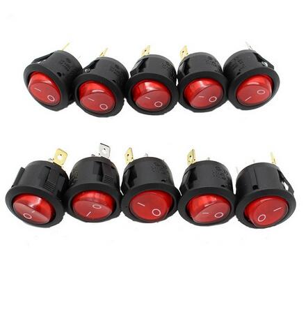 New 10pcs RED LED Dot Light Car Boat Round Rocker ON/OFF SPST 3 Pins Toggle Button Switch 220V MAX 250V DIY Accessories Hot Sale 3pcs waterproof led rocker toggle switch on off button led light for car boat buses motorcycles 12v 20a 4pin for ford vw audi
