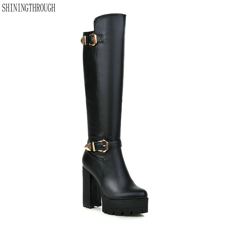 New thick high heels knee high boots woman rouned toe platform black white brown ladies western