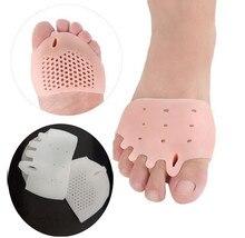 Separador de dedos de los pies con cojín de nido de abeja, de silicona, 5 agujeros, Hallux Valgus, ortopédico, esparcidor, herramienta para el cuidado de los pies, 1 par
