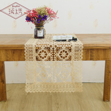 2019 European Square Hollow Embroidery Table Cloth Machine Rectangular Lace Embroidered Cover Towel Runner