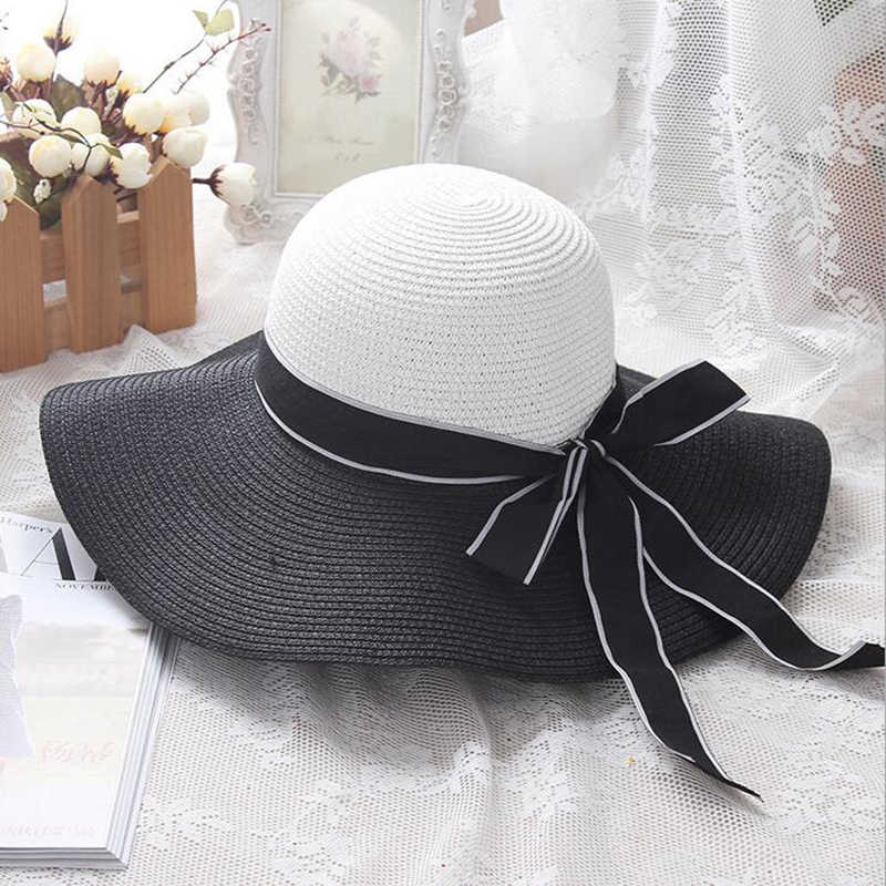 1b9a6a04 ... Hot Sale Fashion Hepburn Wind Black White Striped Bowknot Summer Sun Hat  Beautiful Women Straw Beach ...