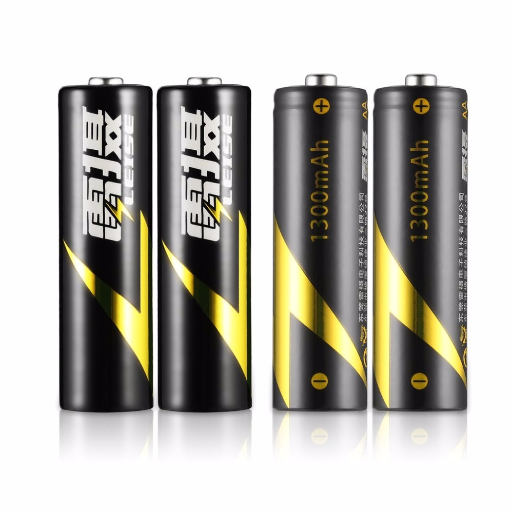 LEISE 4pcs Rechargeable Batteries+2 Slots Smart Charger LED Indicator+USB Cable AA & AAA Ni-MH Battery Charger Set