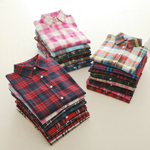 2017 Fashion Plaid Shirt Female College Style Women's Blouses Long Sleeve Flannel Shirt Plus Size Cotton Blusas Office Tops(China)