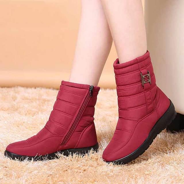 Plus kích thước Ủng nữ mùa đông Giày Plus lông thú giữ ấm không trượt Giày bốt nữ 2019 dây kéo bên hông chống nước thông thường giày nữ