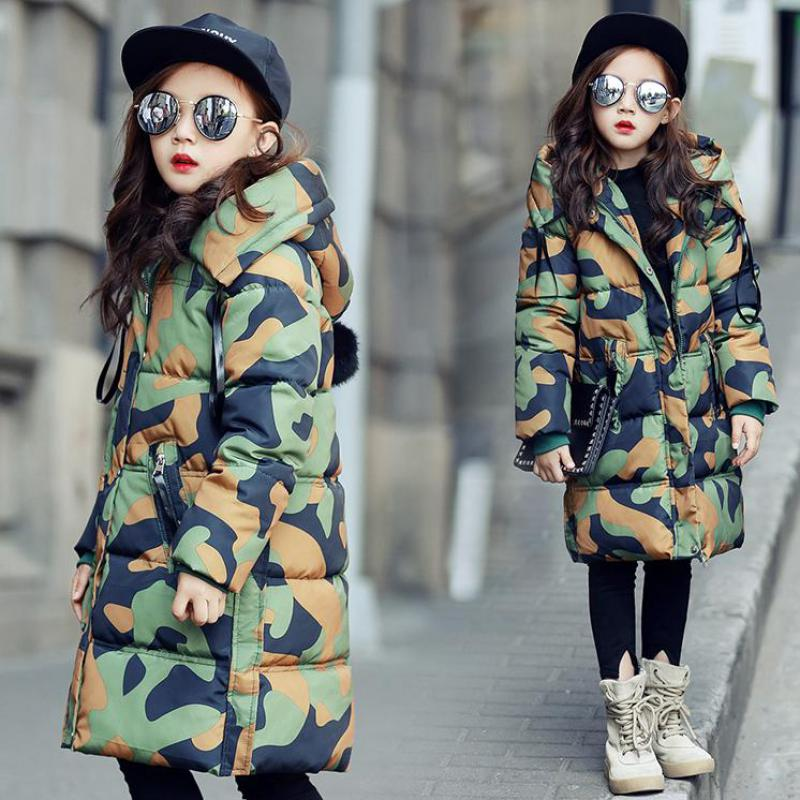 2017 Winter Girls Camouflage Print Down Coats Children Snow Jackets Outdoor Kids Long Outerwear Warm Thick Student Parkas Fille краска в д finncolor oasis hall