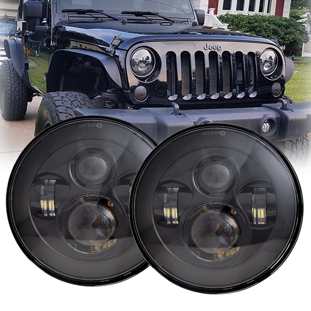 Aspiring For Jeep Wrangler Jk Tj Lj Cj Hummber H1 H2 2pcs 7inch 45w 6000k Black/chrome Round Led Headlight With High Low Beam Excellent Quality Car Lights