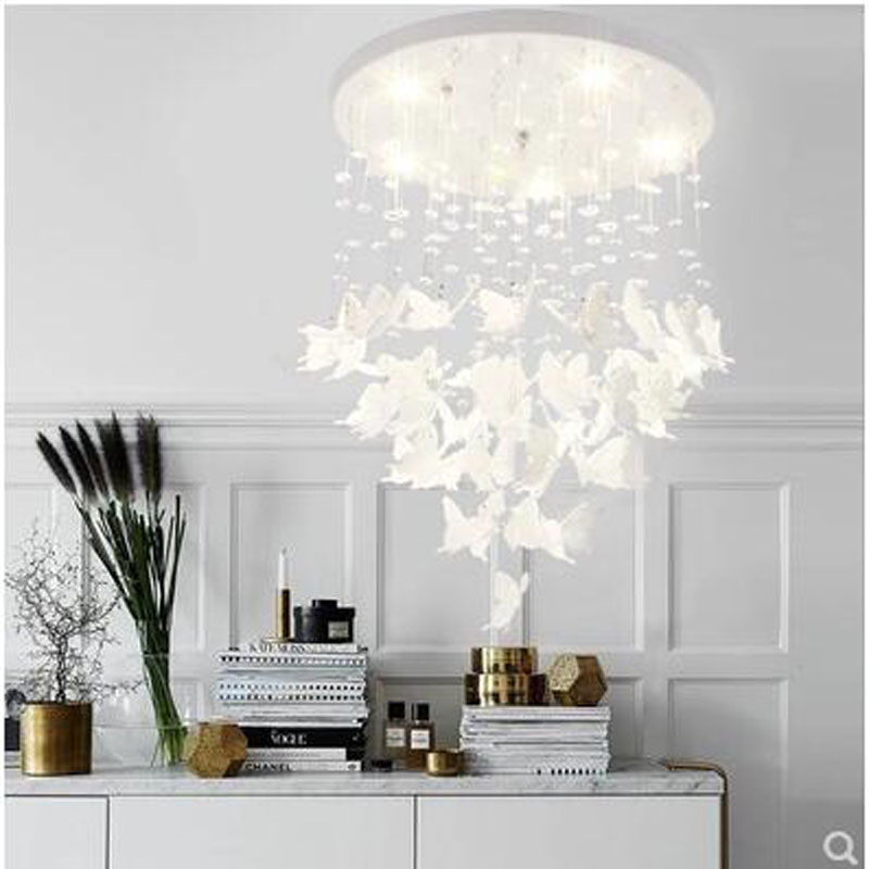 L Butterfly chandelier Nordic restaurant bedroom simple modern creative porch cloakroom crystal ceiling Princess room lamp ledL Butterfly chandelier Nordic restaurant bedroom simple modern creative porch cloakroom crystal ceiling Princess room lamp led