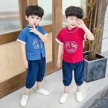 Hanfu/древнее китайское платье для мальчиков Китайский традиционный костюм в стиле Тан, комплекты из хлопка и льна Национальный костюм Hanfu Kids SL1092
