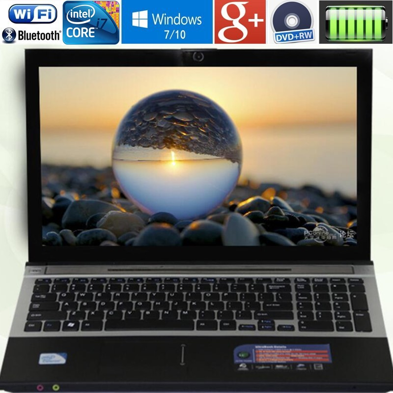 4 ГБ Оперативная память + 120 ГБ SSD 15,6 Intel Core i7 ноутбука Тетрадь PC Большой ноутбук металлический чехол для DVD AZERTY клавиатура с испанским и русски