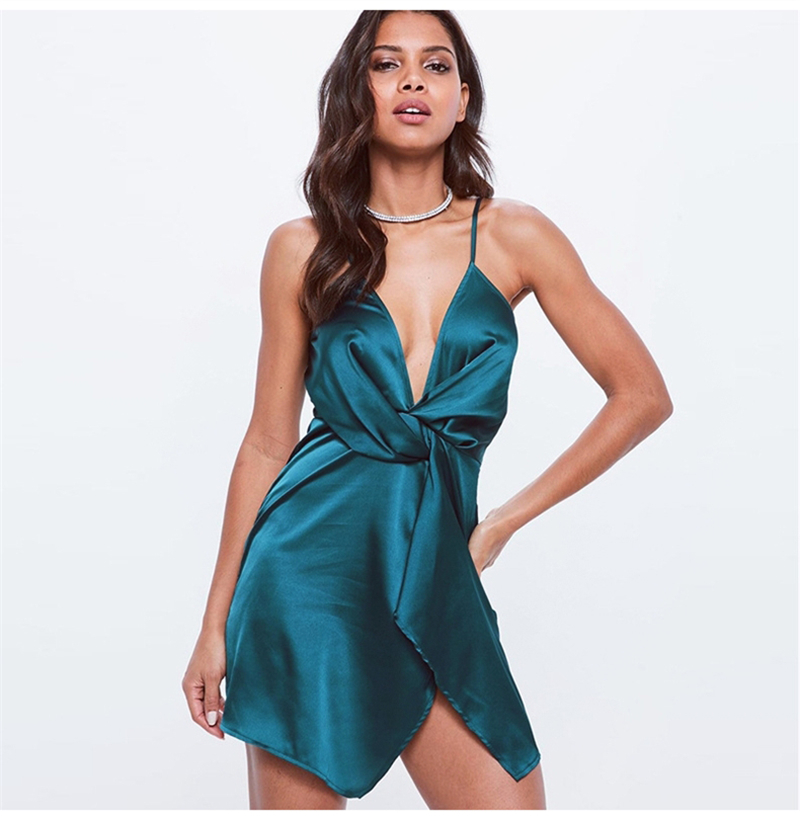 Colysmo Autumn Deep V-neck Sexy Dress Women Satin Waist Knotted Party Dress Elegant Ladies Solid Irregular Hem Mini Dress 2018 3