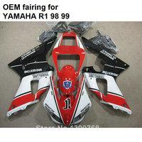 Injection molding plastic fairings for Yamaha YZFR1 1998 1999 red white black motorcycle fairings kit YZF R1 98 99 CN34